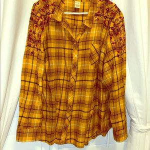 Yellow button down